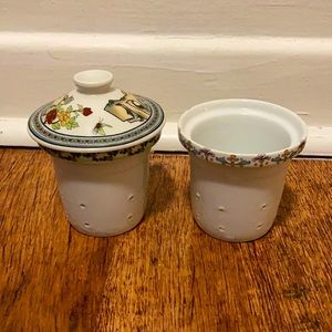 Vintage ceramic strainers